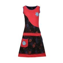 Ladies Summer Sleeveless Dress with Flower Patches and Embroidery