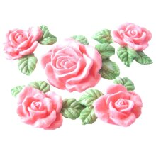 4 Edible Glittered Rose Garland with Large Rose Cake Decorations