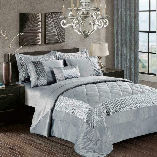 (Silver-Atlanta, Super King) Decorative 3 Piece Quilted Bedspread Bed Throw All Size Bedding Set