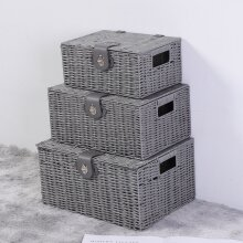 3pcs/set Storage Resin Wicker Woven Hamper Tidy Box With Lid & Lock