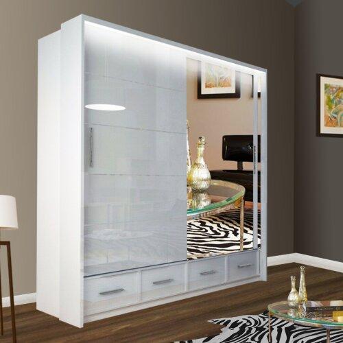 (White, 208cm) Sycyila High Gloss and Mirror Sliding Bedroom Wardrobes