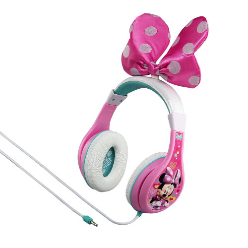 Minnie Mouse Pink Headphones with Child Safety Volume and Pink Bow