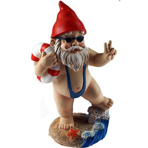 15cm Funny Gnome Garden Ornament - Mankini / Life Ring Design