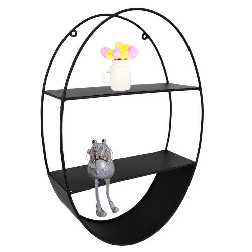 (Oval) Metal Floating Wall Shelves Hanging Decorative Shelf Office Storage Display Rack
