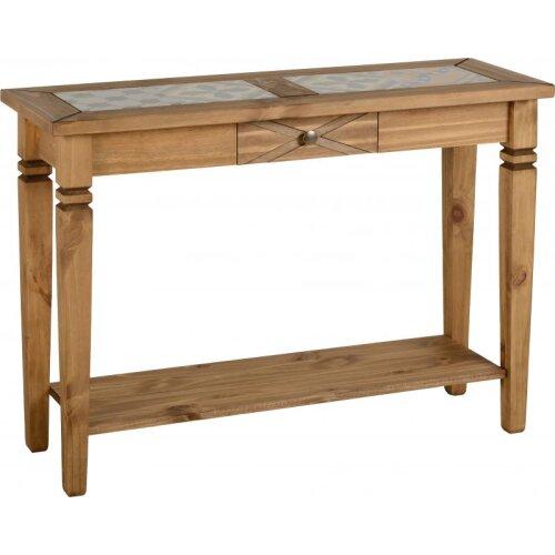 Seconique Salvador Ceramic Tile Top Solid Pine Console Table