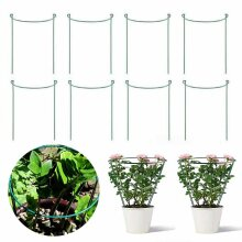 Plant Support Stake, 8-Pack Half Round Metal Garden Plant Supports Set