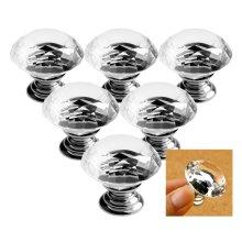 Diamond Crystal Glass Clear Handle Door Cabinet Drawer Knob 30mm 3 Pair