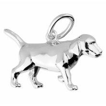 Labrador dog pendant necklace, solid Sterling silver.