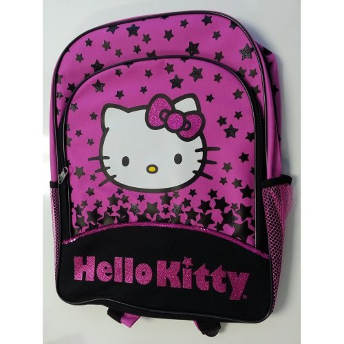 "Backpack - Hello Kitty - Black Star  16"" School Bag New 826120"