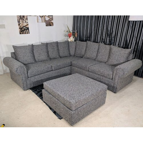 Limitless Home Delve Corner Sofa And Footstool Grey On OnBuy
