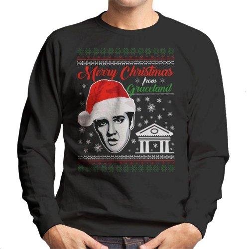 Elvis Presley Merry Christmas From Graceland Men's Sweatshirt