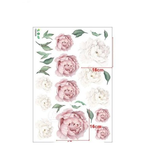 Pink White Watercolor Peony Flowers Wall Stickers - Kids Room Living Room Bedroom Floral Wall Decal