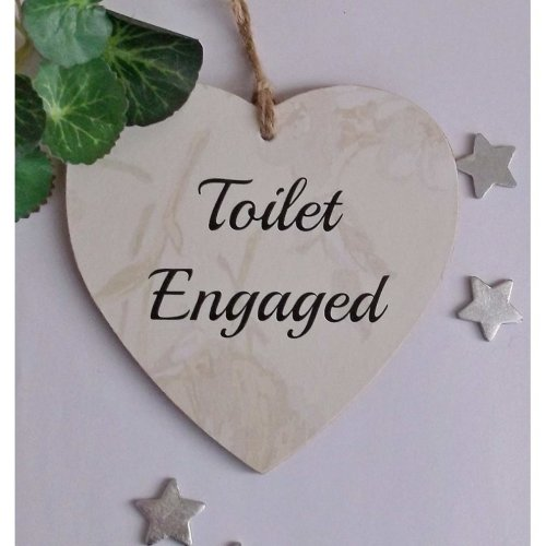 Heart-Shaped 'Toilet Engaged & Vacant' Double-Sided Door Plaque
