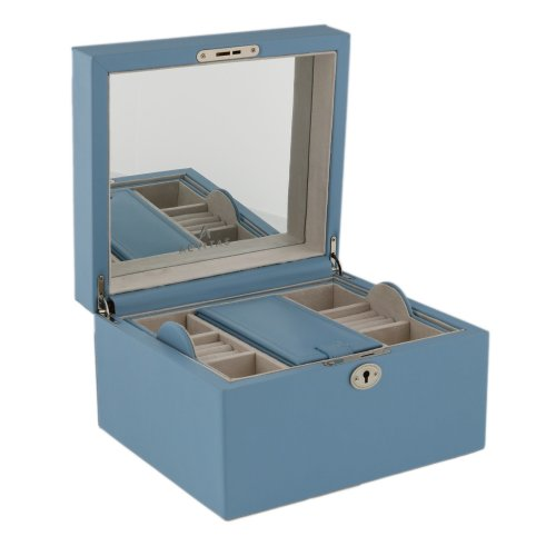 Large Powder Blue Bonded Leather Jewellery Box with Traveler by Aevitas