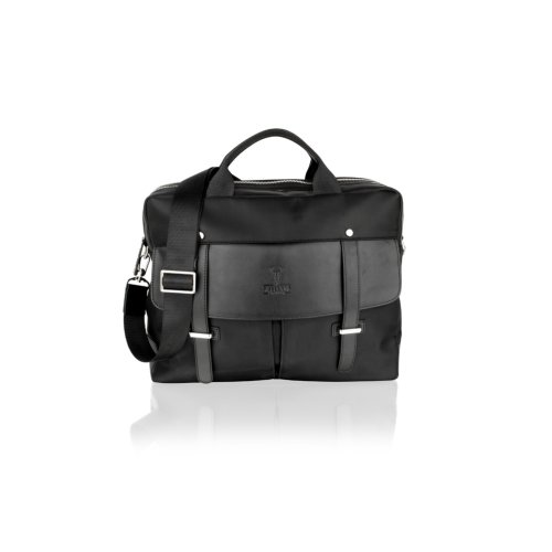 """Woodland Leathers Black Fabric 14"""" Laptop Bag With Leather Trims"""