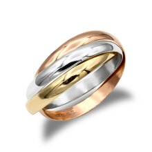 Jewelco London Unisex Solid 9ct Yellow White and Rose Gold Interlocked 3mm Russian Wedding Ring