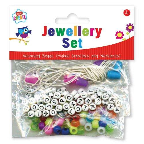 Girls Make your own Jewellery Bracelet Set colour Beads & Alphabet Art Craft