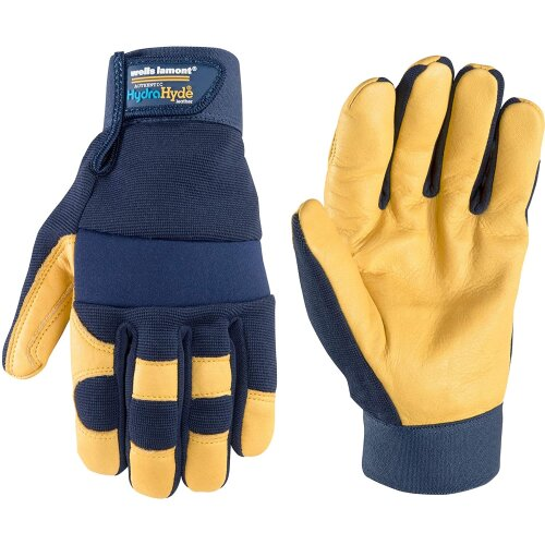 Wells Lamont Men's Hydrahyde Waterproof Leather Work Gloves, Extra Large (3207XL), Blue, XL