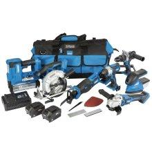 DRAPER D20 20V Jumbo Kit (7 Piece) (+1 x 3Ah Batteries, 1 x 5Ah Battery, Charger and Wheeled Tool Bag) [90473]