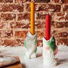 Kitsch Kitchen Ceramic Fish Candle Holder