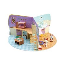 Fuzzikins Craft Cottontail Cottage | 2 Cute Bunnies and a Foldable Paper House for Painting and Stick | Washable Toy for Children Aged 3 Years and Ab