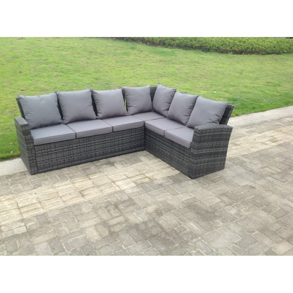 Outdoor Patio Couch Set, High Back Rattan Corner Sofa Set Table Outdoor Furniture Mixed Grey On Onbuy