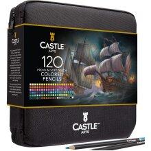 Castle Arts 120 Piece Coloured Pencils Art Set with Zip up Case