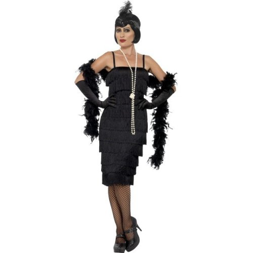 Adult Ladies Black Flapper Costume 1920s Gatsby Charleston Fancy Dress Outfit