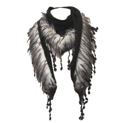 Soft knit triangle scarf faux fur trim & tassels