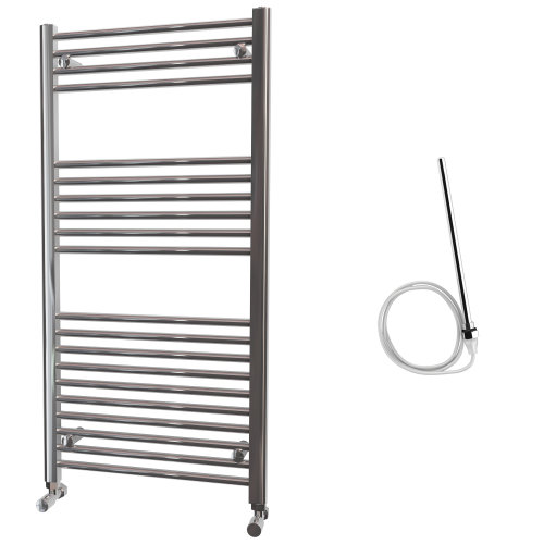 HB Essentials Zena Chrome Straight Ladder Heated Towel Rail 1200mm x 600mm Electric Only - Non-Thermostatic