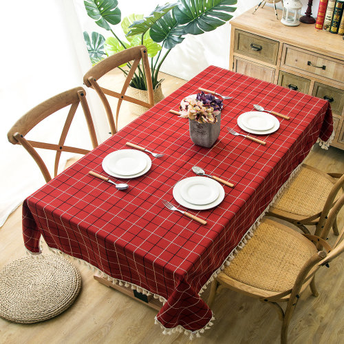 (Red, 140x250cm) Tablecloth Tassel Tablecover Plaid Polyester