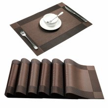 U'Artlines Place Mats, Dining Table Placemats Sets of 6 Heat Resistant Washable Table Mats Brown