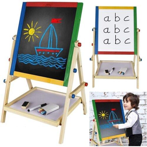 ASAB 2-In-1 Kids' Chalkboard & Whiteboard Wooden Easel