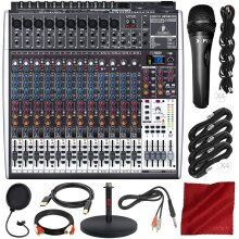 Behringer Xenyx X2442USB 24-Input 4/2-Bus Mixer with USB/Audio Interface and Effects + Microphone & Deluxe Accessory Bundle