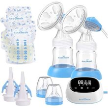 Electric Double Breast Pump Eccomum Breastfeeding Pump with 4 Modes & 9 Levels, Memory Function, BPA Free, Full Touchscreen LED Display, Strong Suct