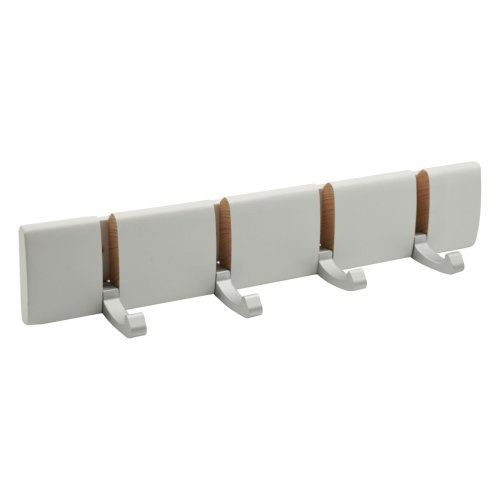 Harbour Housewares 4 Hook, Wall Mounted Coat Rack - Foldaway Metal Hooks - White