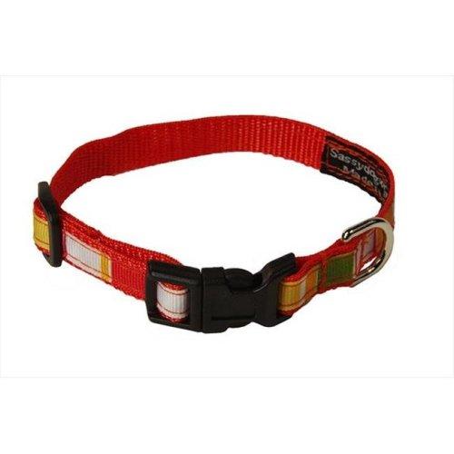 Sassy Dog Wear STRIPE-ORANGE-MULTI1-C Multi Stripe Dog Collar, Orange - Extra Small