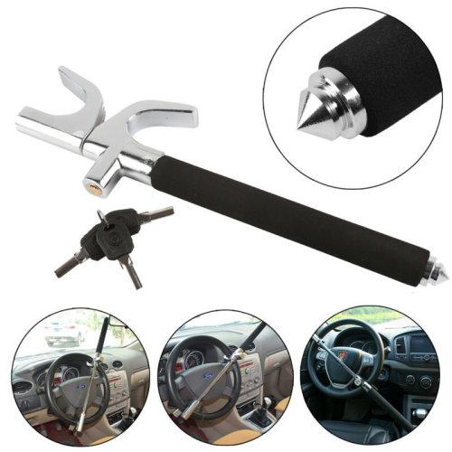 Universal Blacks Heavy Duty Cars Steering Wheel Lock Anti Theft Clamp 3 Keys UK
