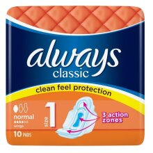 60 PCS (6 PACKS X 10 EACH) ALWAYS CLASSIC ABSORBENT SANITARY PADS NORMAL SIZE 1 WITH WINGS   WOMENS HYGIENE FEMININE CARE