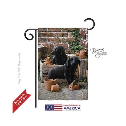 Breeze Decor 60007 Pets Black Lab Pups 2-Sided Impression Garden Flag - 13 x 18.5 in.