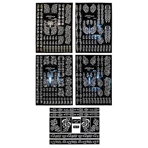 5 Sheets Temporary Tattoo Stencils Various Designs Templates For Henna Body Art Airbrush 5 Sheets 14x10 Each On Onbuy