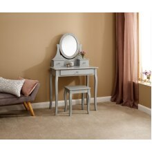 Grace Dressing Table with Drawer Storage Set, Stool and LED Lit Mirror - Grey