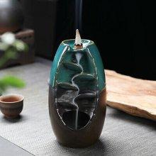 Ceramic Waterfall Backflow Smoke Incense Burner Censer Decor 10Cones
