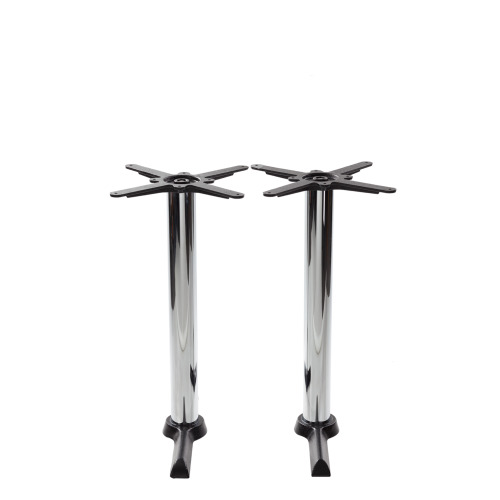 Black cruciform table base - Twin - Chrome dining height - 730 mm