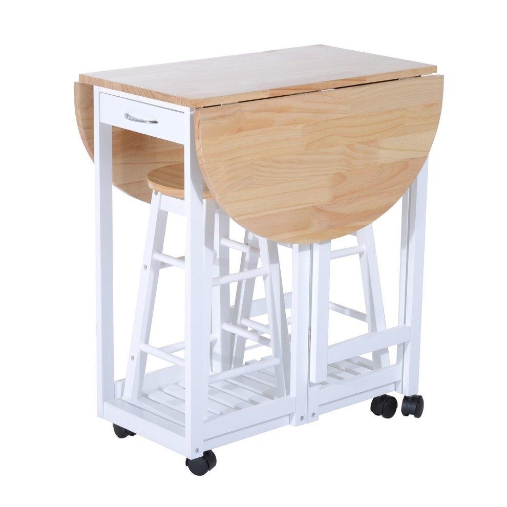 Homcom 3pc Wooden Kitchen Cart Trolley Folding Bar Table ...