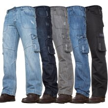 Enzo Mens Cargo Jeans Trousers Casual Work Denim