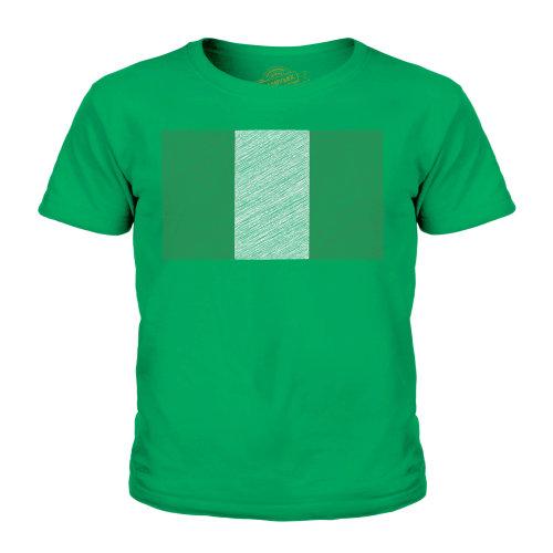 (Irish Green, 5-6 Years) Candymix - Nigeria Scribble Flag - Unisex Kid's T-Shirt