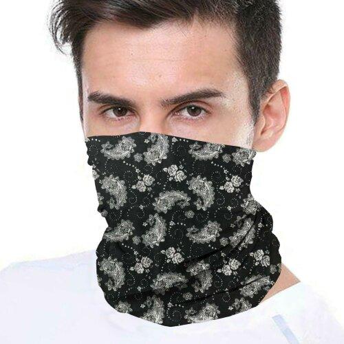 (Paisley Black) Bandana Face Covering Mask Biker Tube Snood Scarf Neck Cover
