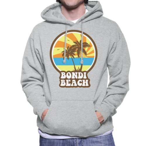 (X-Large, Heather Grey) Bondi Beach Retro Sunset Men's Hooded Sweatshirt