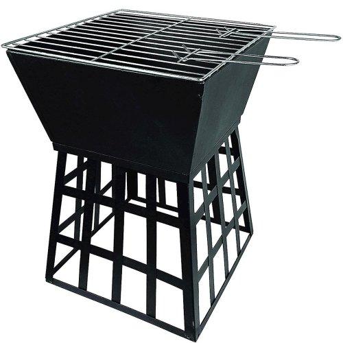 Redwood Leisure Square Black Fire Pit - 33 x 33cm